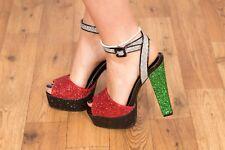 Red black silver & green glitter open toe platform heels 70s glamrock disco