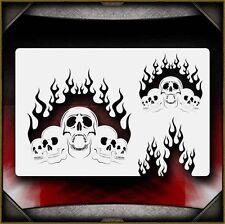 """Fire Skulls"" Airbrush Stencil Template Airsick"