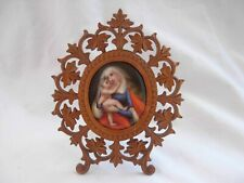 ANTIQUE BLACK FOREST FRAME WITH HAND PAINTED PORCELAIN PLAQUE,LATE 19th