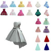 Flower Girls Kids Princess Wedding Dress Baby Birthday Party Lace Tutu Dressy