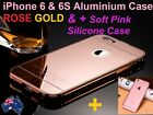 RoseGolD Luxury Mirror Aluminium Metal Thin Case & Soft TPU Case iPhone 6 6S