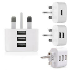 Mains 3 Pin UK Plug 3 AMP USB Adapter Wall Charger home Charging for Phones