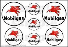 "MOBIL GAS OIL DECAL 1"" 3/4? 1/2"" ROUND PEGASUS HORSE SHEET"