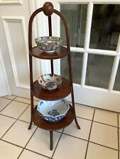 ANTIQUE VINTAGE MAHOGANY CAKE 3 TIER CAKE SERVING TEA PLANT DISPLAY STAND TABLE