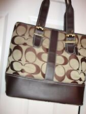 COACH KHAKI WITH DARK BROWN HAND BAG SHOULDER BAG