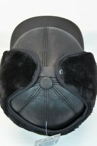 3 colors 100% REAL Sheepskin Shearling Leather Trapper Hunting Aviator Hat M-3XL