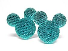 Handmade Mickey Mouse Sparkling Green Cufflinks Silver Plated, Gift Boxed!