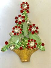 🔥 RARE VINTAGE RED GREEN CLEAR RHINESTONES COLLECTOR BROOCH PIN