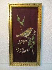 "Peinture sur tissu ""oiseau"" signé H. Ferrier"