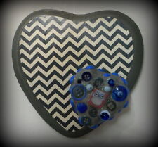 Chevron Owl Heart Art Collage Grey Blue Assemblage Button Mixed Media Mosaic
