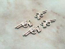 4 Gun Charms Antique Silver Tone Star Pistol Pendants Western Findings 2 Sided