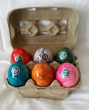 Six Made In Italy Marble Alabaster Easter Eggs In Carton Vintage 1980S Easter