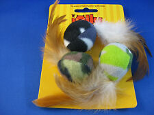 Cat Toy - Jolly Moggy Feather & Fleece Soft Balls - Set of 3