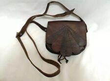 Vintage Brown Leather Boho Hippie Tooled Scalloped Shoulder Bag