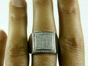Amazing 2.35Ct Square Diamond Face Men's Party Wear Ring With 14K White Gold Fn