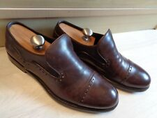 Salvatore Ferragamo cap toe loafer UK 10 44 brown leather punched brogue slip on