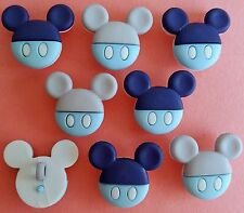 BABY MICKEY - Disney Boy Mouse Heads Navy Blue Grey Dress It Up Craft Buttons