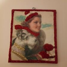 Christmas Glitter Wood  Ornament~ Art Deco Lady with Terrier Dog