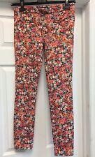Zara Women Floral Red Slim Pants Sz 26 S
