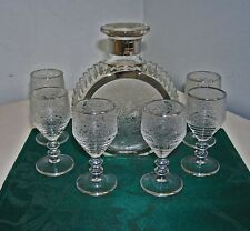 PADEN CITY SPRING ORCHARD DECANTER (NO STOPPER) & 6 GLASSES W/STERLING TRIM