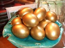 12 Blownout Brown Eggshells Handpainted Glorious Gold for Crafts,Display