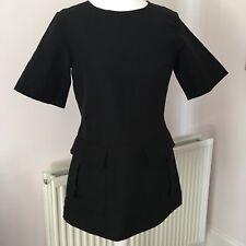 COS Black Short Sleeve Linen Pocket Short Stretch Mini Tunic Top Dress 36 10