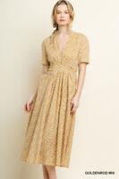 Umgee Mustard Mini Floral Print Short Puff Sleeve Button V-Neck Dress Pintuck