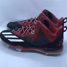 Adidas Men Dual Threat Mid Metal Baseball Cleats SZ 13 F37755 Red and Black!