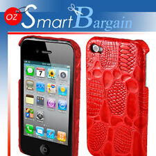 RED Crocodile Design Cover Case For iPhone 4G 4GS + Screen Protector