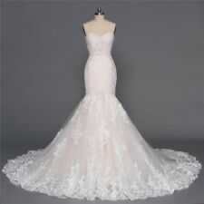 New Mermaid Sweetheart Wedding Dress Tulle Lace Applique Bridal Gown Custom Size