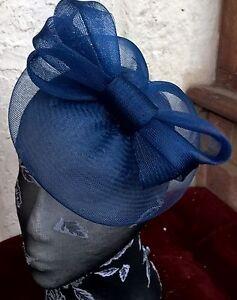 navy dark deep blue fascinator millinery burlesque wedding hat ascot race bridal