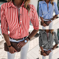 Women Stripe Shirt Tops Long Sleeve Button Down Ladies Casual Work Office Blouse