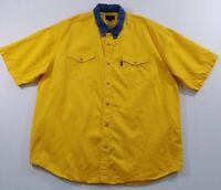 Roper Men's Short Sleeve Button Up Western Shirt 2XL XXL Yellow Chambray Collar