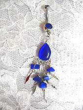 NEW COBALT BLUE CATS EYE DROPLET BELLY DANCER 14g CZ BELLY RING NAVEL BARBELL