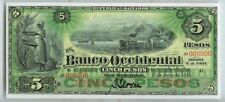 1918 EL SALVADOR 5 PESOS SPECIMEN BANK OCCIDENTAL NOTE GEM UNCIRCULATED P #S176s