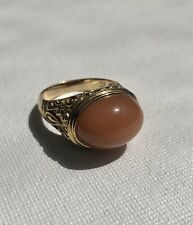 Yellow Gold Plated 925 Carnelian Stone Ring Size 8
