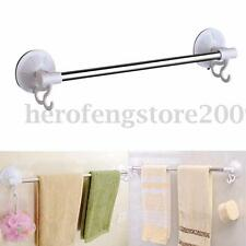2 Hooks Stainless Steel Suction Cup Bathroom Towel Rack Shelf Bar Rail Holder