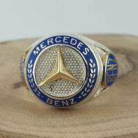 Solid 925 Sterling Silver Mercedes Benz Ring Mens Ring Size 9 - 13