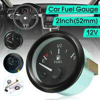 2'' 52mm Car Fuel Level Meter Gauge Fuel Sensor E-1/2-F Pointer Universal 12V