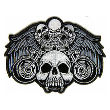 Embroidered Motorcycle Skulls Wings Iron on Sew on Biker Patch Badge