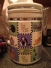 Nantucket Ceramic Patchwork Fat Cat Cookie Jar Container Candy Jar Vacuum Sealed