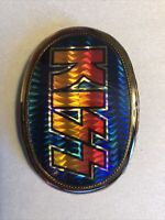 1977 KISS LOGO AUCOIN PACIFICA GLOSSY REFLECTIVE BELT BUCKLE Blue Background