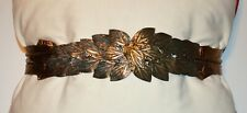 "Vintage ""The Twenty-Four Collection"" Shiny Copper-Fabric Belt With Leafy Buckle"