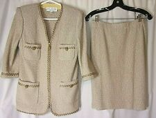 ST JOHN Collection Knit Skirt Suit Size 4 Tan/Zip Front 3/4 Sleeves VNC
