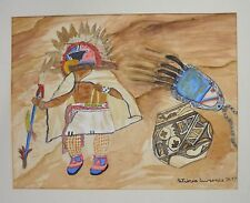 """Patricia Lawrence Watercolor Native American 1997 Signed Painting 11.25"""" x 15"""""""