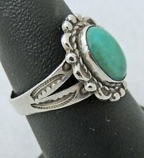 VINTAGE BELL TRADING CO. Hand Craft Sterling Silver oval TURQUOISE RING sz 6.75