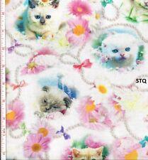 Kitty Glitter Digital Print cotton quilt fabric BTY Studio E Kittens Cats Heads