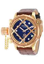 New Men's Invicta 16182 Russian Diver Swiss Mechanical Blue Dial Leather Watch