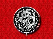 CHINESE DRAGON ASIAN ORIENTAL BLACK WHITE STASH CASE ROUND METAL PILL MINT BOX