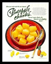1954 Canned Pineapple Chunks Vintage PRINT AD Tropical Fruit Juice Meal 1950s